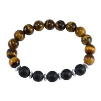 Jaipur Rajasthan India 10mmTiger Eye & Matte Onyx 925 Sterling Silver Stretchable New Bracelet Handmade Jewelry Manufacturer
