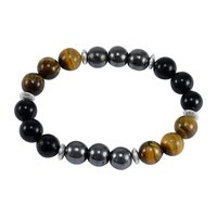 Tiger Eye, Handmade Jewelry Manufacturer Hematite & Black Onyx 925 Silver Stretch Beaded Healing Bracelet Jaipur Rajasthan India
