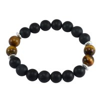 Matte Black Onyx & Tiger Eye Handmade Manufacturer Round Beaded 925 Silver Spacer Stretchable Jaipur Rajasthan India Bracelet