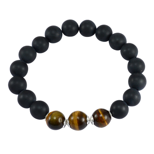 Handmade Jewelry Manufacturer Beads Matte Black Onyx & Tiger Eye 925 Sterling Silver Stretch Bracelet Jaipur Rajasthan India