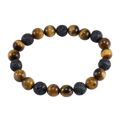 Essential Oil Handmade Jewelry Manufacturer Lava Stone & Tiger Eye Stretchable Yoga Diffuser Jaipur Rajasthan India Bracelet