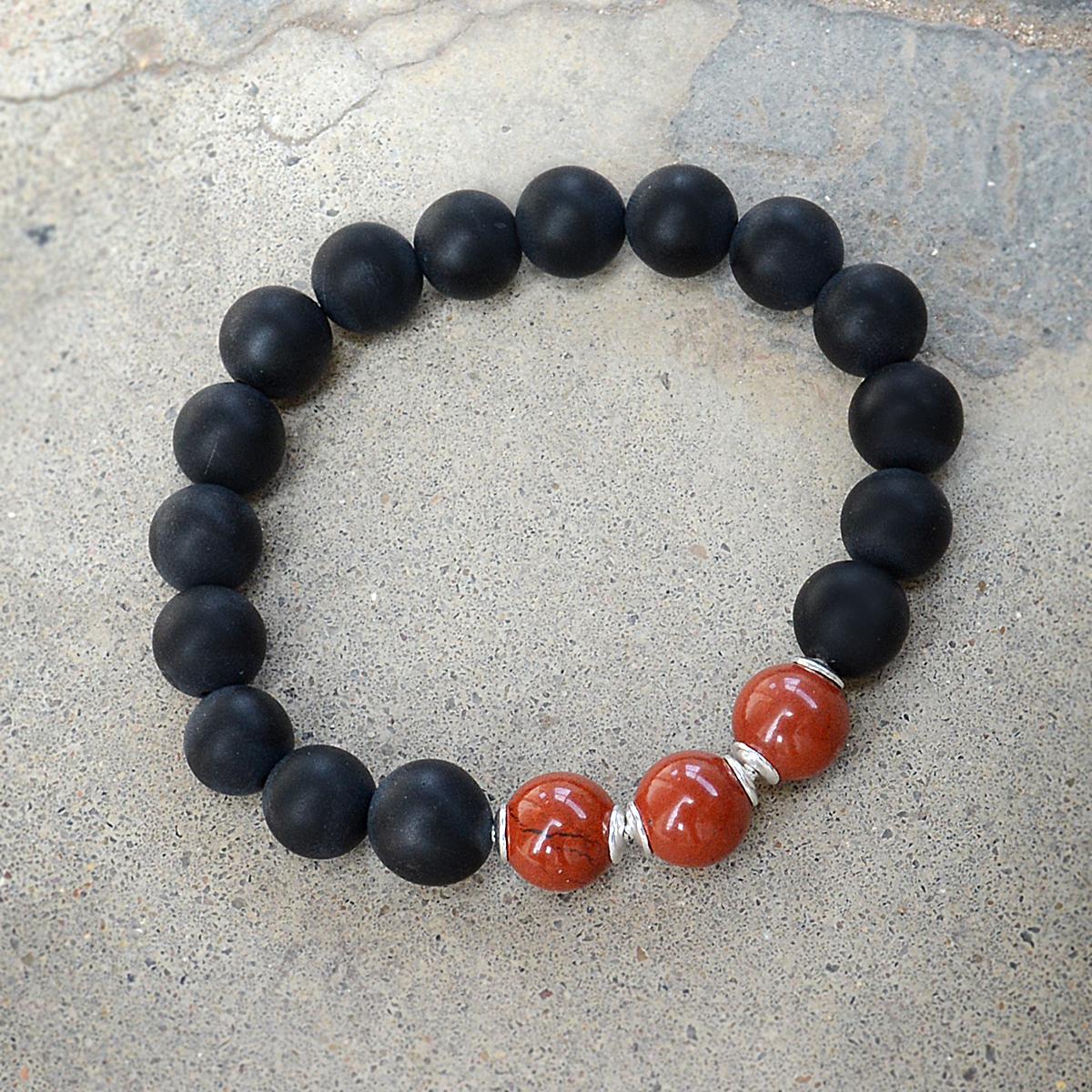 10mm Beads Handmade Jewelry Manufacturer Matte Onyx & Red Jasper 925 Sterling Silver Jaipur Rajasthan India Stretch Bracelet