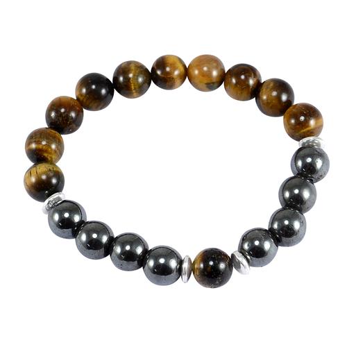 Jaipur Rajasthan India Beaded Hematite & Tiger Eye 925 Sterling Silver Spacer Stretchable Bracelet Handmade Jewelry Manufacturer