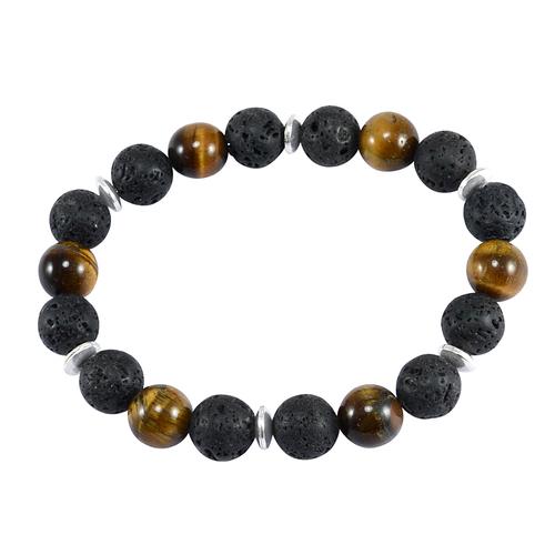 Black 10mm Handmade Jewelry Manufacturer Lava Stone, Tiger Eye 925 Sterling Silver Stretch Jaipur Rajasthan India Beads Bracelet