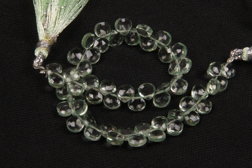 Green Amethyst Heart Beads