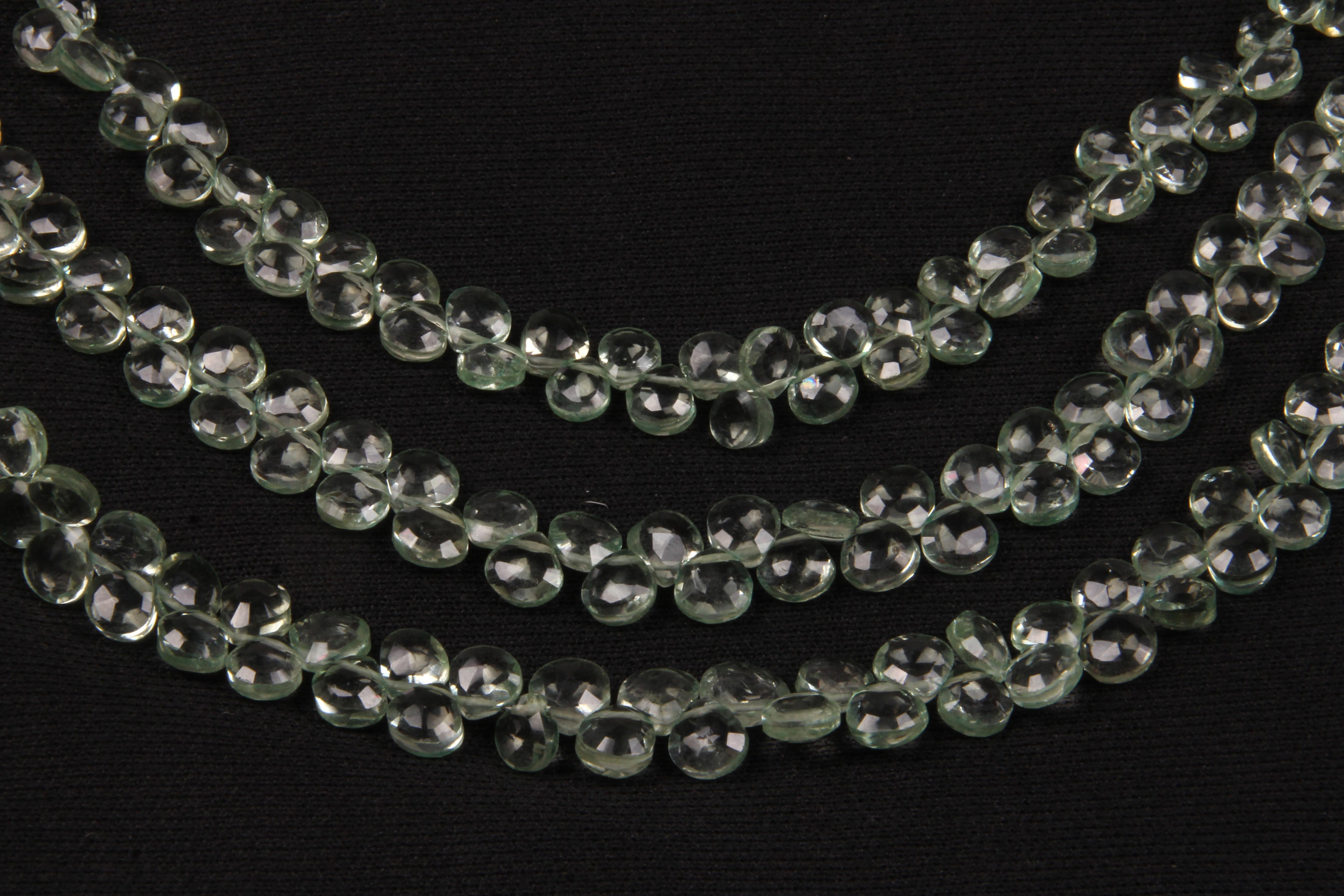 Green Amethyst Heart Beads