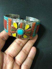 Sterling Silver Cufflink Bracelet