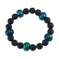 Blue Chrysocolla & Matte Onyx Handmade Jewelry Manufacturer Beaded Stretchable Jaipur Rajasthan India Yoga Reiki Bracelet