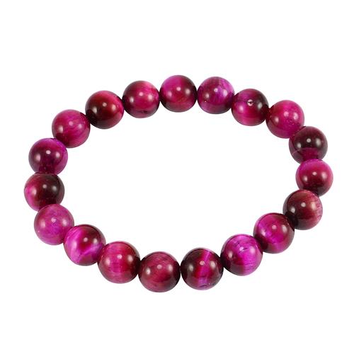 Stunning-Pink Tiger Eye Handmade Jewelry Manufacturer 10mm Round Beads Stretchable Jaipur Rajasthan India Bracelet