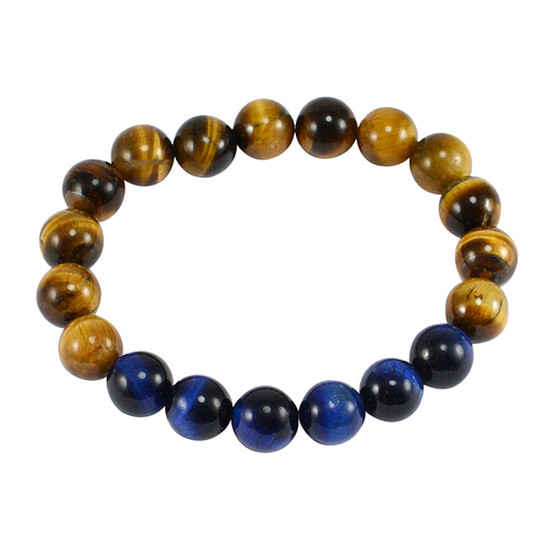 Jaipur Rajasthan India Round Beaded Brown & Blue Tiger Eye Stretchable Meditation-Bracelet Handmade Jewelry Manufacturer