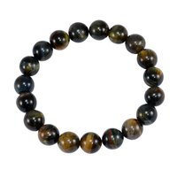 Black Tiger Eye Handmade Jewelry Manufacturer 10mm Round Beaded Stretchable Jaipur Rajasthan India Healing-Meditation Bracelet