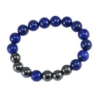 Handmade Jewelry Manufacturer Beaded Lapis Lazuli & Hematite Stretchable Healing Bracelet Jaipur Rajasthan India