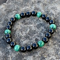 8mm Beads Handmade Jewelry Manufacturer Green Tiger Eye & Black Onyx Stretchable Bracelet Jaipur Rajasthan India