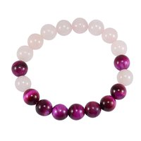 Round Beads Handmade Jewelry Manufacturer Pink Tiger Eye & Rose Quartz Stretchable Jaipur Rajasthan India Healing Bracelet