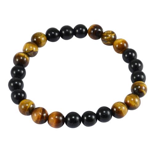 Tiger Eye & Black Onyx Gemstone Stretchable Bracelet