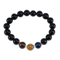 Blue, Red, Brown Tiger Eye & Black Onyx Gemstone 925 Sterling Silver Stretchable Bracelet