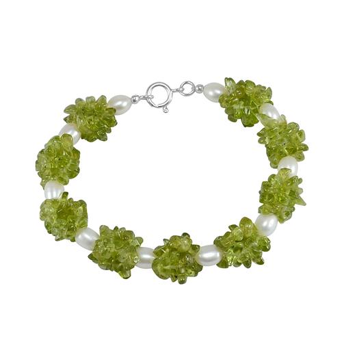 Peridot & Pearl Gemstone 925 Sterling Silver Bracelet