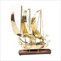 Brass Ship With Wooden Base