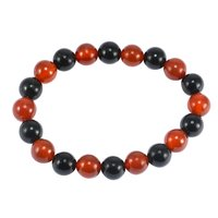 Handmade Jewelry Manufacturer 2 Tone Round Beaded Black & Red Onyx Stretchable Bracelet Jaipur Rajasthan India
