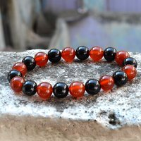 Handmade Jewelry Manufacturer 2 Tone Round Beaded Black & Red Onyx Stretchable Bracelet Jaipur Rajasthan India