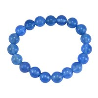 10mm Beaded Handmade Jewelry Manufacturer Round Blue Chalcedony Stretchable Jaipur Rajasthan India New Bracelet