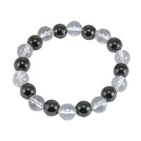 Hematite & Crystal Quartz Handmade Jewelry Manufacturer Stretchable Meditation Beads Yoga Bracelet Jaipur Rajasthan India