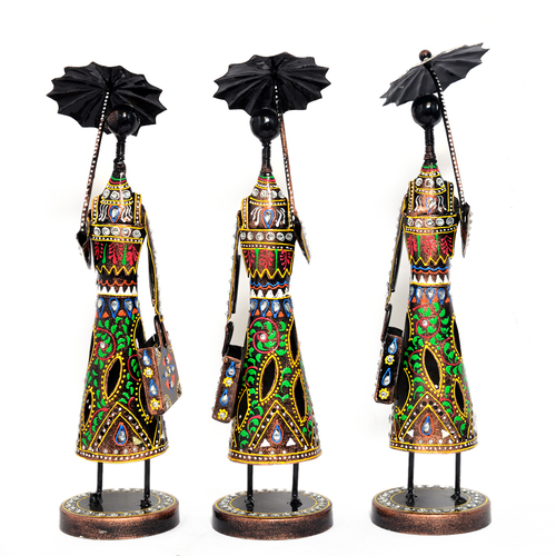 Home Decorative Iron Painted 3 Set Of umbrella Lady Statue