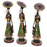 Home Decorative Iron Painted 3 Set Of umbrella Lady Statue