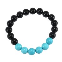 10mm Handmade Jewelry Manufacturer Beaded Blue Turquoise & Black Onyx Stretch Jaipur Rajasthan India Bracelet For Men