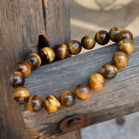 Brown Jaipur Rajasthan India 10mm Beads Tiger Eye Stretchable Handmade Jewelry Manufacturer Boho Healing Bracelet