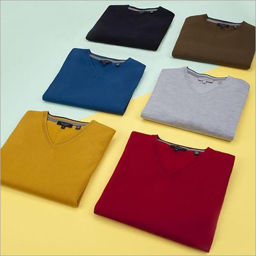 Mens V Neck Plain T-Shirt