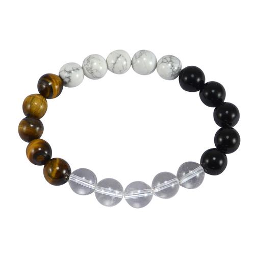 Tiger Eye, Howlite, Handmade Jewelry Manufacturer Black Onyx & Crystal Quartz Stretch Jaipur Rajasthan India Beaded Bracelet