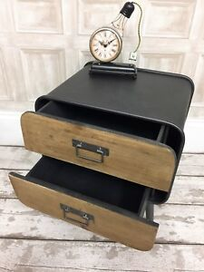 Industrial retro style metal bedside table study office drawer unit home decor
