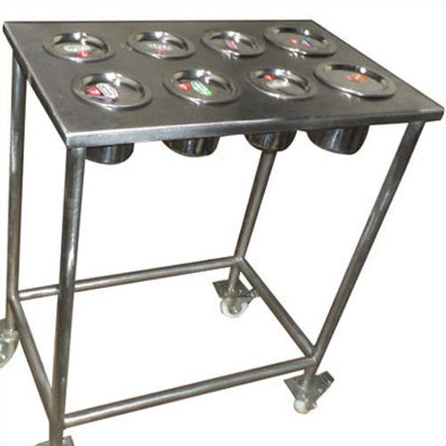 Silver Stainless Steel Masala Trolley