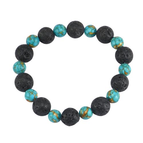 Handmade Jewelry Manufacturer 8-10mm Round Beads Turquoise & Lava Stone Stretchable Healing Bracelet Jaipur Rajasthan India