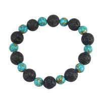 Handmade Jewelry Manufacturer 8-10mm Round Beads Turquoise & Lava Stone Stretchable Healing Bracelet Jaipur Rajasthan India