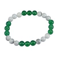 Howlite & Green Crystal Handmade Jewelry Manufacturer Stretchable Layering Healing Bracelet Jaipur Rajasthan India