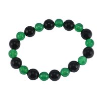Green Crystal & Black Onyx Handmade Jewelry Manufacturer Beads Stretchable New Layering Bracelet Jaipur Rajasthan India