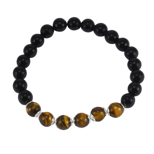Handmade Jewelry Manufacturer 8mm Beads Tiger Eye & Black Onyx 925 Sterling Silver Stretch Bracelet Jaipur Rajasthan India