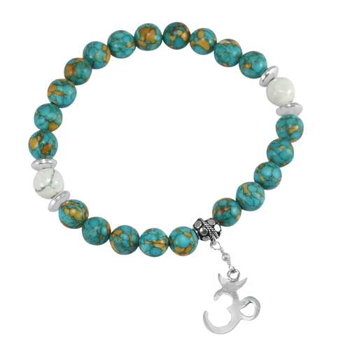 Turquoise & Howlite Handmade Jewelry Manufacturer 925 Silver Beads Stretch Bracelet