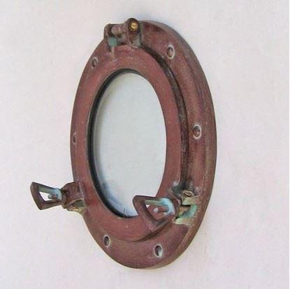 Antique Porthole Glass Aluminum 9 Inch