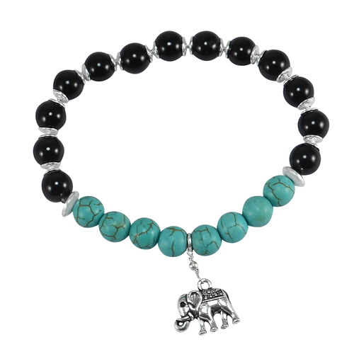 Turquoise & Onyx Jaipur Rajasthan India 925 Silver Beads