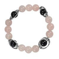 10mm Beads Handmade Jewelry Manufacturer Rose Quartz & Black Onyx 925 Silver Jaipur Rajasthan India Stretch Bracelet