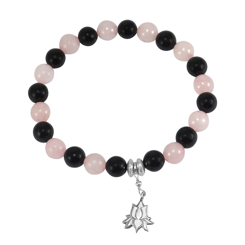 8mm Handmade Jewelry Manufacturer Rose Quartz & Black Onyx Gemstone 925 Sterling Silver Stretch Bracelet Jaipur Rajasthan India