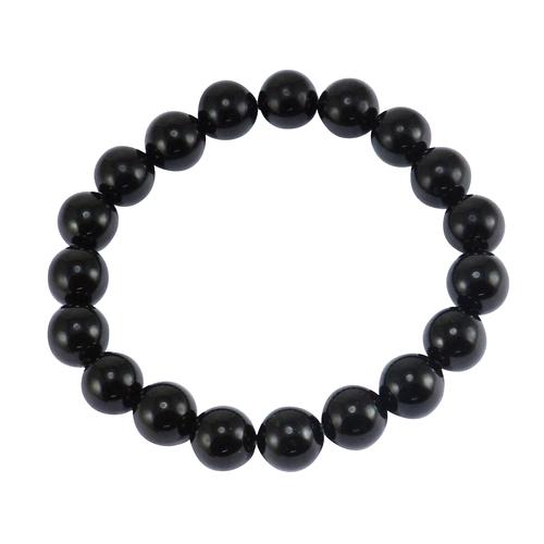 Handmade Jewelry Manufacturer 10mm- Round-Beaded- Black Onyx Stretchable Bracelet For Women Jaipur Rajasthan India