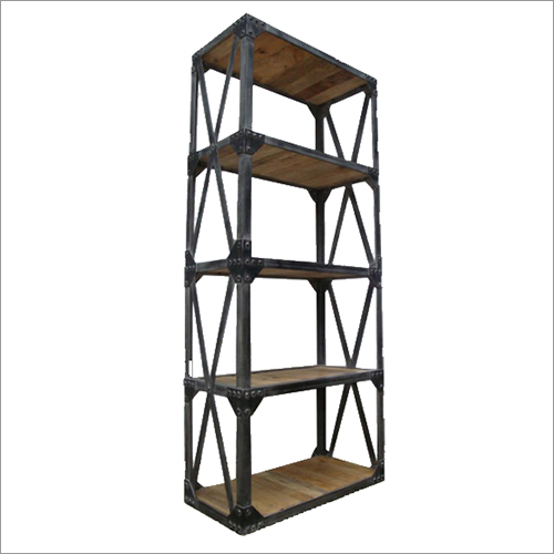 Wrought Iron 5 Tier Wooden Bookshelf