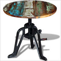 Wrought Iron Round Wooden Coffee Table