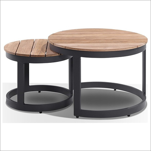 Wrought Iron Round Hardwood Coffee Table