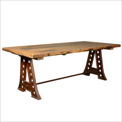 Wrought Iron Rectangular Shape Wooden Dining Table