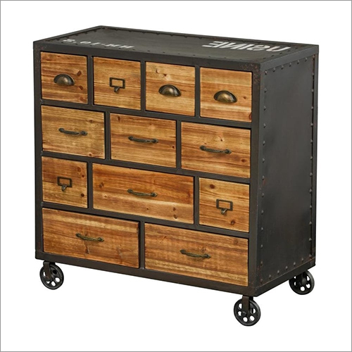 Wrought Iron Wooden Drawer Chest With Trolley
